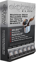 Ekobrew Elite - Stainless Steel Reusable Filter for Keurig® 2.0 & 1.0 Single Cup Brewers / 24 Count Dispenser